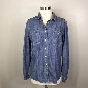 Duluth Trading Co Chambray Shirt Size Large
